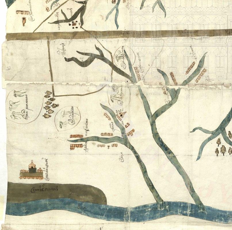Рисунок 1. Местность Карасевской лесной дачи. Извлечение из чертежа 1699 г. Ф. 1209. Оп. 77. Ед. хр. 25186. Л. 1.