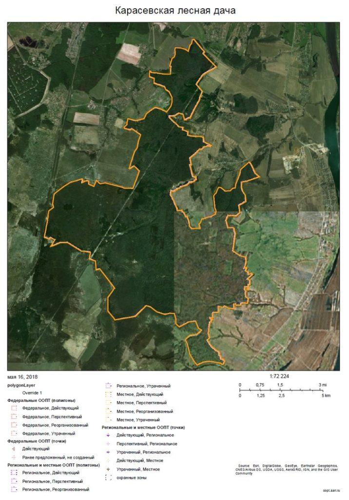 Рисунок 4. Карта Карасевской лесной дачи. Сформирована на сайте «ООПТ России» — http://oopt.aari.ru/oopt/
